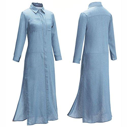 Frauen Schaukel Kleid Langes Kleid für Partei Langes Hülsen Weihnachtskleid Himmelblau