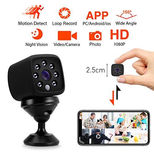 Mini Kamera WiFi, Korostro Full HD 1080P WiFi 150° Überwachungskamera Camera Tragbare IP Kamera mit Bewegungserkennung und Infrarot Nachtsicht, Fotografieren für Heim und Büro