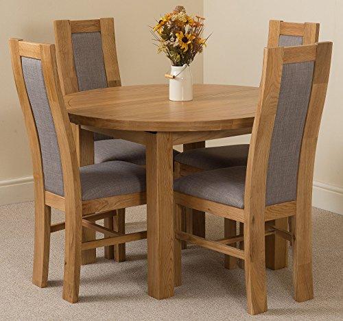 Edmonton Extending Oval Solid Oak Dining Table 4 Solid Oak Fabric