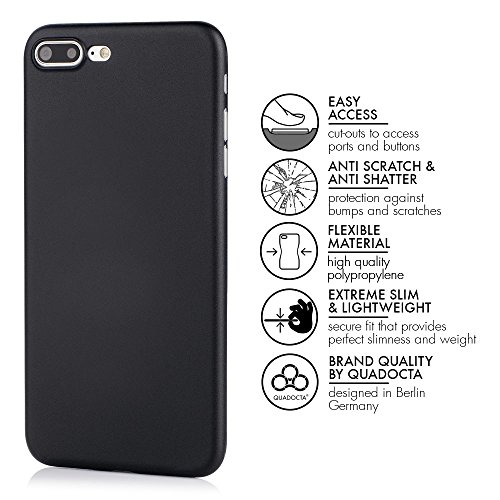 "QUADOCTA iPhone 7 PLUS (5,5"") Ultra Slim Hülle - Schutzhülle - ""Tenuis"" in Grau- Ultra dünnes Case - Leicht transparentes Cover kompatibel mit Apple iPhone7 PLUS mit Kameraschutz Solid Schwarz"