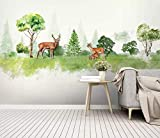 HONGYUANZHANG Aquarell Kreativer Elch Tapete Des Foto-3D Künstlerische Landschafts-Fernsehhintergrund-Tapete,56Inch (H) X 88Inch (W)