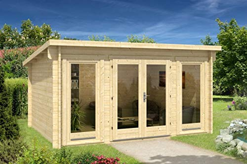 Alpholz Gartenhaus Atrium-F aus Massiv-Holz | Gerätehaus mit 40 mm Wandstärke | Garten Holzhaus inklusive Montagematerial | Geräteschuppen Größe: 420 x 320 cm | Pultdach