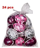 khevga Deko Ostern: 24 Ostereier mit Band zum Aufhängen Silber Weiß Rosa Pink (24)