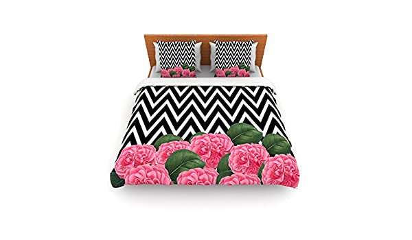 KESS InHouse Suzanne Carter Camellia Chevron Flower Queen Comforter 88 X 88