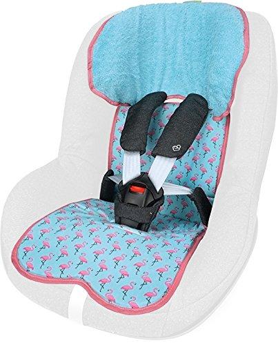 PRIEBES FELIX Sitzauflage für Autokindersitz Gruppe 1 | Universal Sitzeinlage für Kindersitze | Schonbezug 100 % Baumwolle | waschbar & atmungsaktiv | einfache Befestigung | beidseitig verwendbar, Design:flamingos aqua
