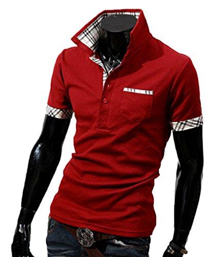 Herren Sommer Lässig Kurzarm Poloshirt T-shirt Kontrastfarbe Slim Fit Rot