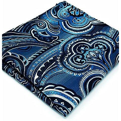 100% seta blu scuro Floral nuovi uomini tasca quadrata per gli uomini un fazzoletto di Business del vestito tessuto Jacquard