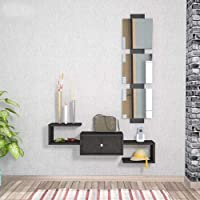 Wooden Wall Shelves With Mirror