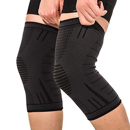 Hually Kniebandage Sport, (1 Paar) Kompression Knieschoner, rutschfest Atmungsaktiv Elastische Knieschützer, für Laufen, Joggen, Sport, Volleyball, Fußball, Basketball