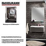 Fackelmann Badmöbel Set Scera 3-tlg. 80 cm weiß grau mit Waschtisch Unterschrank & Gussmarmorbecken & Spiegelelement