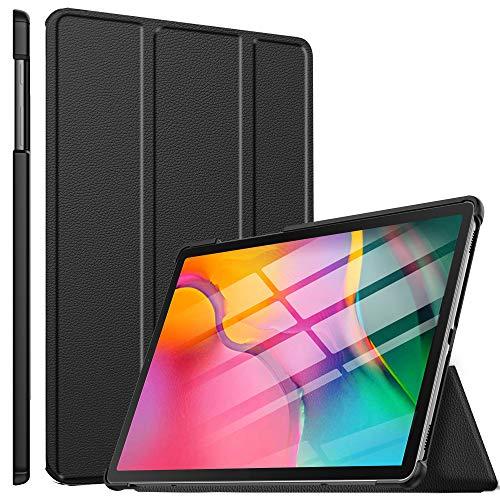 ELTD Hülle für Samsung Galaxy Tab A T510/T515 2019,Ultra Slim Flip mit Ständer und Eingebautem Magnet Hochwertiges PU Leder Schutzhülle für Samsung Galaxy Tab A 2019 T510/T515 10.1 Zoll (Schwarz)