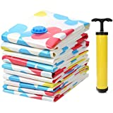 Hojo Vacuum Compressed Space Saver Storage Bag with 1 handpump, Extra Strong Ultra Compression | Ideal for Storing Clothes, Pillows, Curtains and Travelling Vaccum Bag Set of 3