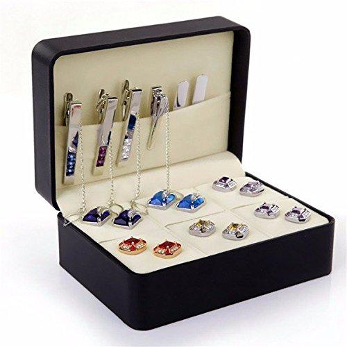 bureze Krawatte Frauen Herren Manschettenknöpfe Ringe Ohrring mühelosen Aufbewahrung PU Leder multifunktional Box Case