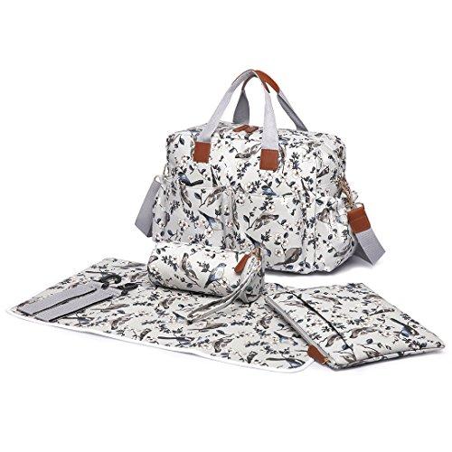 Miss Lulu 4-teilige Windel Wickeltasche Set Mit Blumen+Vögel Drucken Große Babytasche Henkeltasche Schutertasche mit Wickelunterlage (L1501-16J/Grau)