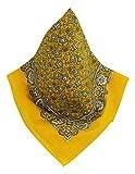 Teichmann Gelbes Nickituch mit wunderschönem Blumen-Muster | Bandana aus 100% Baumwolle | 53 x 53 cm | Halstuch