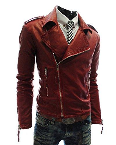 Chaqueta de Cuero de Imitación Super-Suave Cremallera Abrigo para Hombre Rojo M
