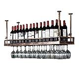 WJSXJJ Bronze Wine Rack - Morden Style De Fer Suspendu Verre À Vin Support Plafond Décoration Tablette For Bar, Restaurants, Cuisine Ou Cave À Vin (Size : 120cm)