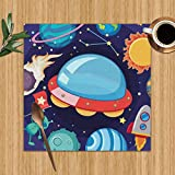 Placemats Set of 6,UFO Many Planets Galaxy Transportation Art Heat-Resistant Placemats Washable Table Mats for Kitchen Dining Table 12X12 inch