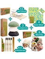 ecopura Zero Waste Set – Bambus Zahnbürsten, Konjac Schwamm, Bienenwachstücher, Wattepads, Obst- und Gemüsebeutel - 100% Nachhaltig, Umweltfreundlich, Biologisch Abbaubar, Plastikfrei, Ökologisch