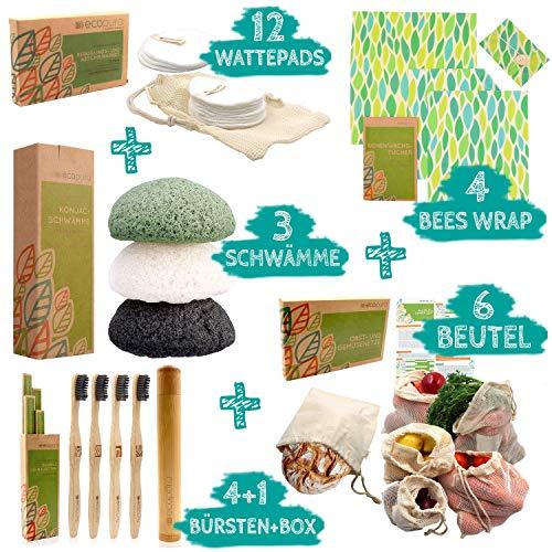 ecopura Zero Waste Set - Bambus Zahnbürsten, Konjac Schwamm, Bienenwachstücher, Wattepads, Obst- und Gemüsebeutel - 100% Nachhaltig, Umweltfreundlich, Biologisch Abbaubar, Plastikfrei, Ökologisch