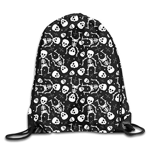 Bags Cool Skulls Halloween Skeleton Mexican Dia De Muerte Kids Sport Athletic Gym Sackpack for Men Women ()