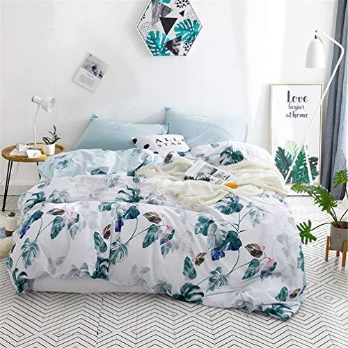 Stillshine 100% Baumwolle Home Bettbezug Set Farbe Vintage Print Bettbezug Set Weiß Blau Grün Rattan Tropical Leaves Muster Baumwolle Bettwäsche Kollektion (Einzelbett 135 x 200 cm) - Satin Wasserbett Blätter