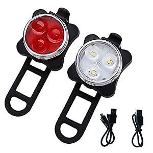 Rmine Wiederaufladbare LED Fahrradlampe 4 Licht-ModiFahrradlicht Set (2 USB-Kabel & 2 Lampe)