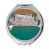 Yanteng Spiegel, Schminkspiegel, Luftaufnahme Strand Vogelperspektive, Taschenspiegel, tragbarer Spiegel