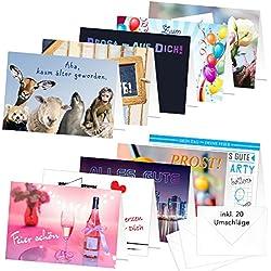 """PRICARO Geburtstagskarten mit Briefumschlägen Motive 1"""", A6, 20 Stück"""