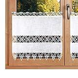 SeGaTeX home fashion Landhausgardine Rebecca Plauener Spitze auf Käseleinen 3590 weiße Scheibengardine Panneau mit Stickerei