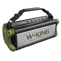 W-KING 50W Bluetooth Lautsprecher Wasserdicht, 24 Stunden Laufzeit, 8000mAh Power Bank, 30 Meter Reichweite, Tragbare Bluetooth Speaker Box Lautsprecher Musikbox mit TWS/NFC (Grün)