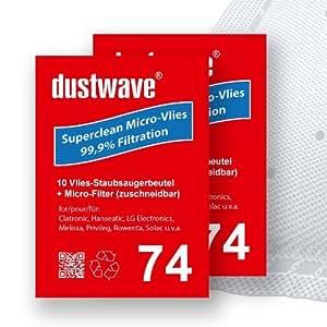20 Sacs d'aspirateur compatible pour rowenta rO 5277 aspirateur traîneau compacteo ergo de dustwave markenstaubbeutel ®-allemagne avec micro-filtre