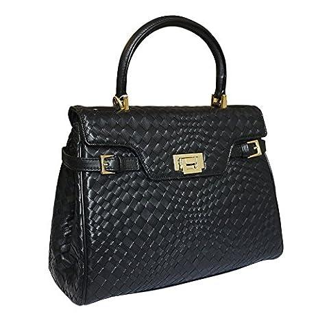 Fontanelli Lisetta designer italien grab en cuir tressé sac à main - noir