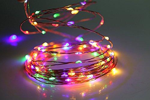 Yoport Fairy String Licht, 100 Multi-Farbwechsel Micro Led-Leuchten mit Bendable Ultra-Thin Metallic Draht, 10M USB Stromversorgung Seil Lichter mit Fernbedienung für Halloween Christmas Wedding Party (Multi-seil-leuchten)