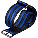 G10 NATO ZULUDIVER® Blue Bond Watch Strap, Black & Blue, PVD IP Black 18mm