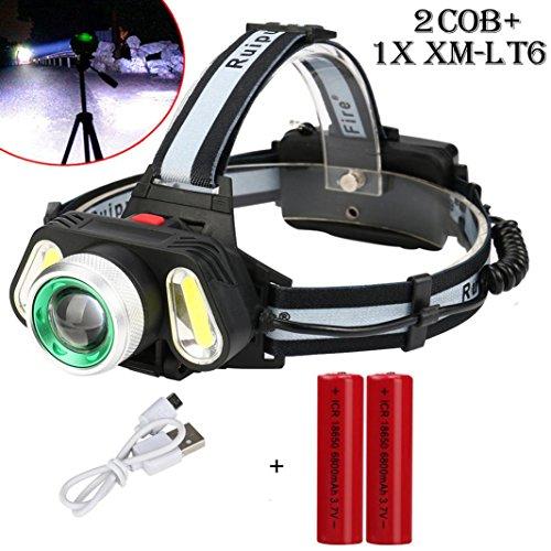 15000LM Wiederaufladbar Stirnlampen, Siswong Einstellbar Winkel XM-L T6 LED +2xCOB 4 Modus Draussen Tragbar Reise Jagd Tactical Taschenlampe + USB-Leitung (mit Batterien)