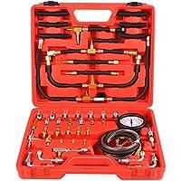 FIXKIT Kit de Medidor de Presión de Combustible Manómetro de Presión para Coche Herramientas de Probador de Presión para Coche con Maleta Roja