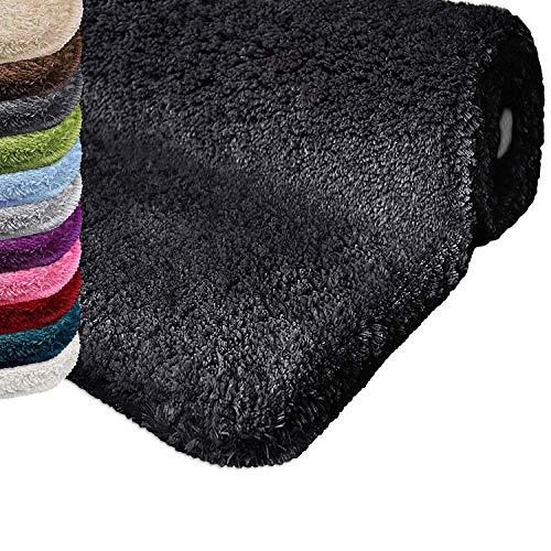 Casa pura tappeto da bagno shaggy, assorbente - tappeto bagno antiscivolo   pelo alto e morbido in 12 colori e varie misure - nero - 80x150 cm