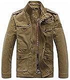 WS668 Homme Printemps Automne Hiver Casual Poche Manteaux Cotton Bomber Militaire Veste Haute qualité Outdoor Tops Mens Fashion Jacket (FR X-Large (Asia Tag 3XL), Vert armée)
