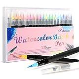 Hicen Watercolour Brush Pen Set,Watercolour Brush Pens 20 Colours With Soft Flexible Tip