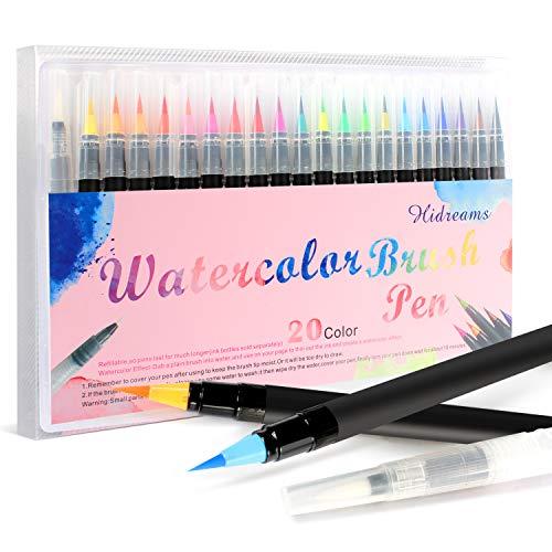 20 Colores Rotuladores Acuarelables 1 Pincel Agua