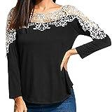 Oliviavan,Frauen Damen Casual Spitze Patchwork T-Shirt Langarm Tunika Tops Bluse Schwarz weiß Herbst Winter Kleid Mode für mollige Elegante Kleider große größen Schwarze Spitze Bequeme Kleidung
