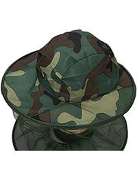 TININNA Sombreros de pesca camuflaje Máscara de caza máscara Senderismo Sombrero de la pesca Pesca Net Mask Mosca del mosquito del insecto de la abeja Mosquitera-camuflaje 1#