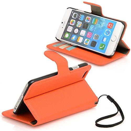 Madcase Apple iPhone SE / 5S / 5 Schutzhülle Ledertasche mit Kartenfach Premium Design Case Tasche Portemonnaie PU Leder Hülle - Orange Genarbtes weiches PU - Orange