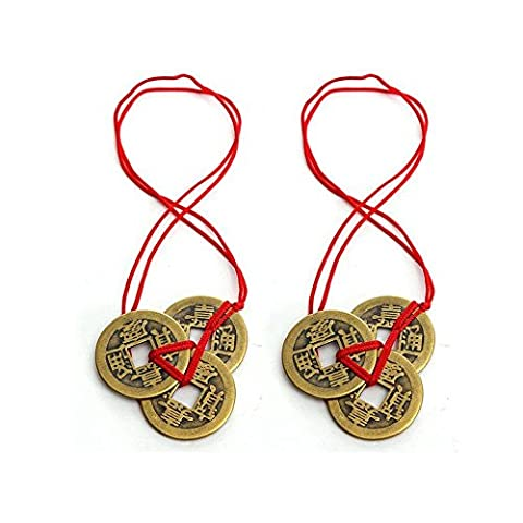 homiki Chines ancienne piece de monnaie porte-bonheur avec ruban rouge
