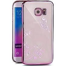 Galaxy S6Edge Funda, Galaxy S6Edge Cover, Patrón de diente de león ikasus brillantes Bling Diamantes de imitación transparente Golden electroplate Plating Marco duro PC Carcasa para Samsung Galaxy S6Edge