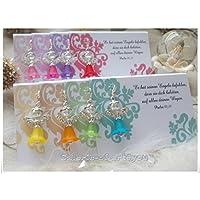 Tischkarte Blumenranke mit Zirkonia Engel Blütenelfe Gastgeschenk Hochzeit Taufe Kommunion Konfirmation
