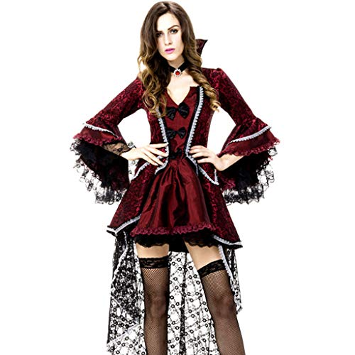 TINGSHOP Partei-Kostüm-Kleid, Frauen Vampirin Rokoko Viktorianischen Kleid Masquerade Ballkleid Lange Halloween-Abend Frauen-Kostüm Rot Und Schwarz Weinlese-Spitze-Satin-Lange Hülsen-Ballkleid (Ghost Maid Kostüm)