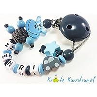 Schnullerkette mit Namen für Jungen mit Nilpferd / Hippo, Auto und Stern - blau, grau
