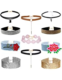 MingJun 9 Pieces Blue Denim Jeans Choker Necklace Set Vintage Handmade Embroidered Rose Flower Wide Collar Chokers for Ladies Teens 90s Jewellery